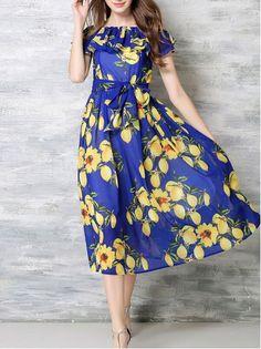 Leakage shoulder chiffon midi dress