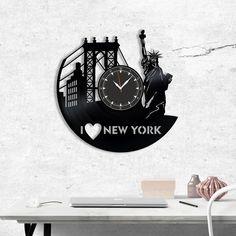 New York City Wall vinyl record clock, Best Gift for Decor #homedecor #walldecor #clock #wallclock #vinyl #gifts #giftideas #giftsforher #giftguide #giftwrap #newyork #newyorkcity #city #unitedstates
