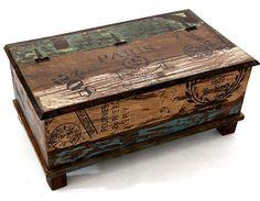Cofre Del Tesoro Vintage Cuero Estuche Caja De Madera Miniatura muñeca casa Accesorio Hg