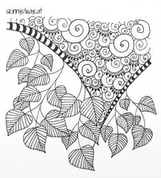 Leaf Me Alone    3in x 3in. Pigment ink on paper.    I like leaves. The first leaves I ever really liked were papaya leaves. When I was little, we had papaya trees in the garden and I was always fascinated by the big, showy leaves. The leaves in this ZT aren't papaya leaves but I had great fun drawing them anyway. ^_^    In other news, I'll have to switch to new pens soon! My Pi