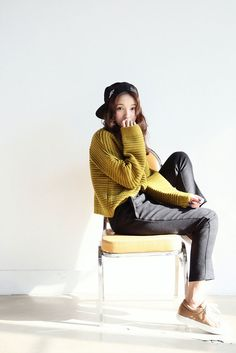 Stripe Rib Half-Neck Sweater