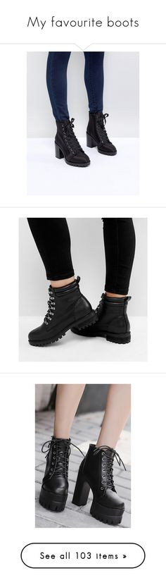 """""""My favourite boots"""" by hermine-fragonn ❤ liked on Polyvore featuring shoes, boots, ankle booties, black, lace-up bootie, black ankle booties, block heel booties, laced up ankle boots, ankle boots and black ankle boots"""
