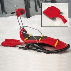 https://retail.fredstorey.com/product/snogo-special-needs-sleigh/  The SnoGo sledge for children and Adults with special needs finally allows those with disabilities to be fully included, supported and enjoy the fun with their families and friends in the snow!  complete with pelvic, thigh and leg straps, adjustable head support and optional chest harness and trunk supports. Can be pushed or pulled and has a sleigh board which can be attached to the back so someone can ride along standing...