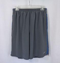 Mens NIKE Gray Blue Stripes Dri Fit Elastic Waist Lined Swim Shorts Trunks SZ L #Nike #Trunks