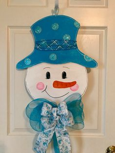 SNOWMAN DOOR HANGER Christmas door hanger Wreath Door