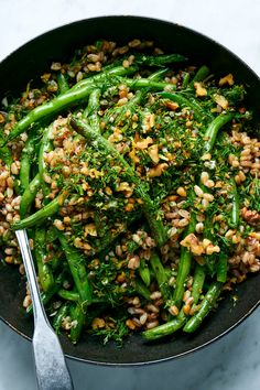 Farro and Green Bean Salad With Walnuts and Dill Recipe - NYT Cooking Dill Recipes, Salad Recipes, Vegetarian Recipes, Cooking Recipes, Healthy Recipes, Cooking Pasta, Cooking Bacon, Cooking Videos, Green Bean Salads