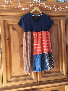 Colorfull patchwork Funky Tunic, Upcycled Bohemian Tunic Dress, Babydoll Tunic, Upcycled T-Shirt Tunic Dress Orange And Navy Blue Fun! artsy, one of