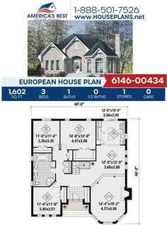 Explore Plan 6146-00434 with us! This European design offers 1.602 sq. ft, 3 bedrooms, 1 bathroom, a kitchen island, an open floor plan and a covered front porch. To learn more about this design, check out our website. #houseplans #newhome #buildahome European Plan, European House Plans, Best House Plans, Building Section, Building A House, Floor Plan Drawing, Construction Cost, Build Your Dream Home, House Layouts