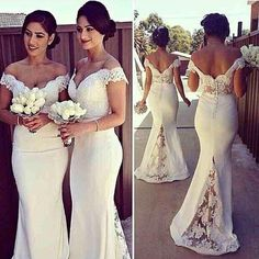 V-neck Mermaid Ivory Bridesmaid Dre: