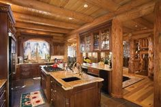 Luxorious mill log home kitchen