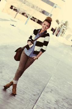 Denim shirt + striped blazer.