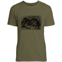 Mintage Otter with Fish Mens Fine Jersey T-Shirt (Olive)