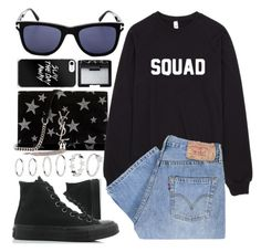 """""""Squad"""" by smartbuyglasses ❤ liked on Polyvore featuring Yves Saint Laurent, Tom Ford, Converse, Levi's, NARS Cosmetics and black"""