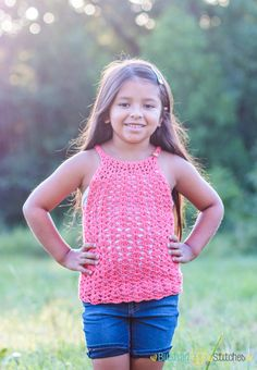 Free Crochet Lace Tank Top Pattern for girls and women Crochet Toddler, Crochet Girls, Crochet For Kids, Easy Crochet, Crochet Baby, Free Crochet, Knit Crochet, Crochet Things, Crochet Summer Tops