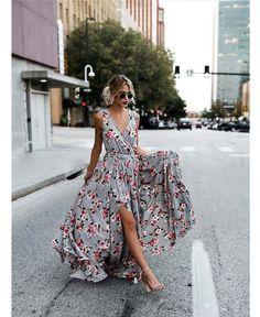 Grey Bohemia Sleeveless Split Side Maxi Dress