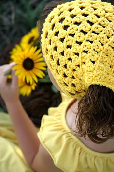 Hair Kerchief Crochet Head Wrap Yellow Boho Hair by foreverandrea,