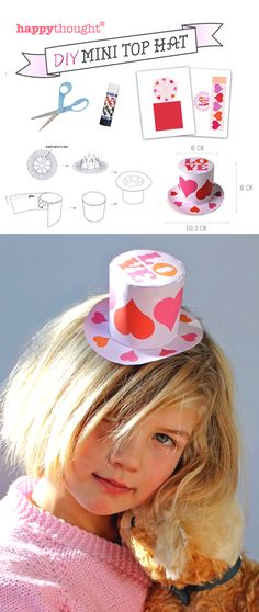 Cute DIY Mini Top Hat for Valentines Day https://happythought.co.uk/craft-ideas/printables/mini-top-hats/mini-paper-top-hats photo prop or fascinator