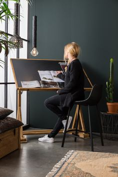 Industrial Design Interiors, Piano Desk, Grand Piano, Office Desk, Counter  Stools, Dark Walls, Dutch, Minimalist, Bones