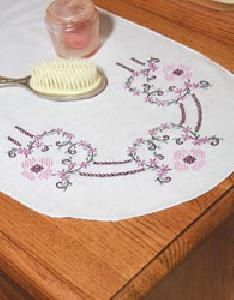 Fairway Stamped Perle Edge Dresser Scarf Three Hearts And Flowers Cross Stitch Kits, Cross Stitch Embroidery, Needlework Shops, Flowers Online, Quilt Blocks, Sewing Crafts, Elsa, Dresser, Hearts