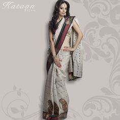 Beige Color Semi Tussor Saree With Booti Design In Resham