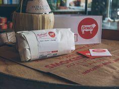 Gene's Sausage Shop Branding Design by Knoed Creative Cool Restaurant, Restaurant Branding, Graphic Design Branding, Identity Design, Branding Kit, Editorial Design, Paper Shopping Bag, Sausage, Cool Designs