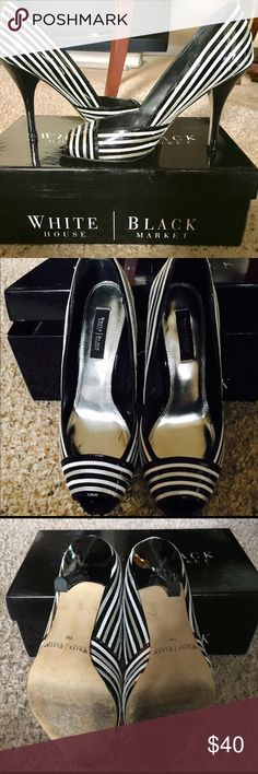 Stunning striped peep toe heels Beautiful black white and silver striped peep toe pumps with 4 inch heel, only worn a couple of times fabulous condition, pictures do not do these justice👠 White House Black Market Shoes Heels