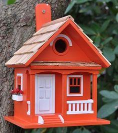 Home Bazaar Birds Of A Feather Cafe Au Lait Cottage Birdhouse, Decorative Bird Houses at Songbird Garden