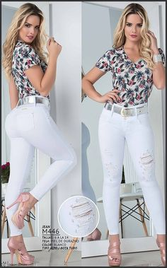 Jean Blanco Levanta Cola Ref: Lace Jeans, Sexy Jeans, Girl Fashion, Fashion Outfits, Womens Fashion, Fashion Design, Khloe Kardashian Style, Little Girl Leggings, Casual Winter Outfits
