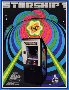 The Arcade Flyer Archive - Video Game Flyers: Starship Atari, Inc. Archive Video, Make A Flyer, 70s Sci Fi Art, Classic Video Games, Graphic Design Trends, Pinball, Video Game Console, Vintage Ads, Arcade Games
