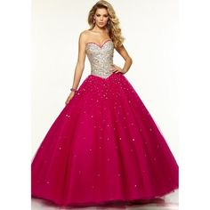 Ball Gown Sleeveless Beading Sweetheart Tulle Floor-Length Dresses -... ❤ liked on Polyvore featuring dresses, gowns, pink gown, floor length prom dresses, prom gowns, pink ball gown and beaded prom dresses