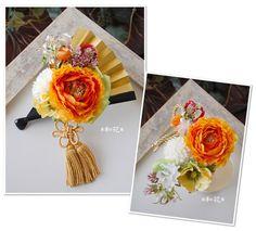 和のブーケ 扇子スタイルブーケと髪飾りのセット 新作☆ の画像 和花ドットコムオフィシャルサイト