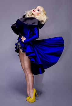 ruffle style and borderline sculptural dress, love the fabric manipulation technique and the royal blue colour