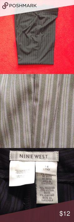 Nine West Slacks size 14 - Navy/Black stripes! With cuffs - so stylish!  Gently worn. Polyester / Rayon / Spandex Nine West Pants Trousers