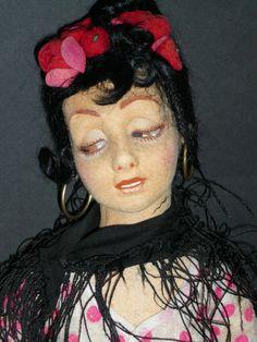 Rare Spanish lady LENCI Dudovich face 1929