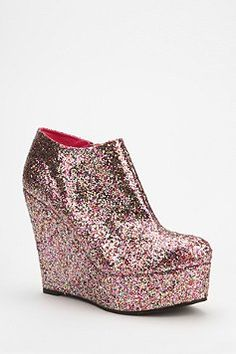Deena & Ozzy Glitter Wedge Boot