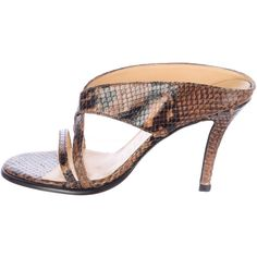 Pre-owned Walter Steiger Snakeskin Slide Sandals ($95) ❤ liked on Polyvore featuring shoes, sandals, brown, slide sandals, brown shoes, strappy shoes, black strappy shoes and black sandals