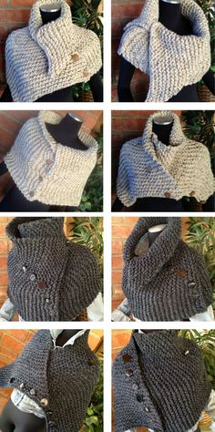 Knitting Pattern for Ribbed Hugger Cowl - Easy versatile wrap that can be worn many ways knit in garter stitch and suitable for a beginner according to the designer. Quick knit in bulky weight yarn Designed by CharmedFibers