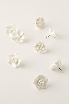 Ceramic Flower Pins. Clay + push pins