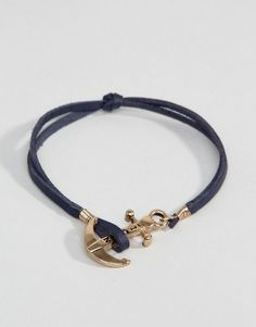 945789fc0f4 ICON BRAND Leather Anchor Bracelet In Navy Anchor Logo, Real Leather, Leather  Bracelets,