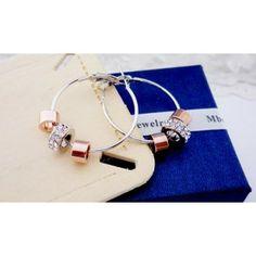 Crystal Bead Hoop Earrings for Wedding