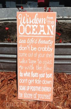 Wisdom From The Ocean, Home Decor Typography Wood Sign on Etsy, $20.00