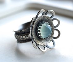 Cocktail Ring,Textured, Botanical, Wide Band, Oxidized Sterling Silver,Unique, Textured, Gemstone Ring, Romantic, Metalsmith via Etsy
