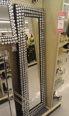 diy - bling out your mirror! buy any cheap framed mirror & any
