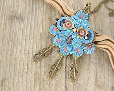 Sky blue beaded pendant necklace beaded pendant hand