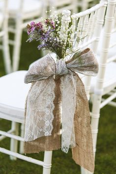 lace burlap flowers aisle decoration, you can use different color lace based on what colors you choose Jules!