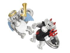 Angel & Devil Monkey Cufflinks. It has been said that every man carries both an angel on one shoulder and a devil on the other, and now you can choose to be good, bad or both while being playful with these angel and devil monkey cuff links! $395.