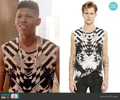 Hakeem's black and white printed muscle tank on Empire.  Outfit Details: http://wornontv.net/52531/ #Empire