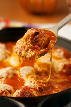 easy cheese filled skillet meatballs are fast and easy for even the busiest of weeknihgts