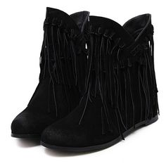 Black Suedette Fringed Ankle Boots (1.040.120 IDR) ❤ liked on Polyvore featuring shoes, boots, ankle booties, black bootie boots, fringe booties, black booties, black fringe boots and fringe ankle boots