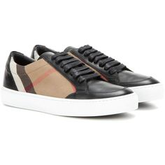 Burberry Salmond Leather and Fabric Sneakers (1,715 SAR) ❤ liked on Polyvore featuring shoes, sneakers, black, black trainers, burberry sneakers, burberry, kohl shoes and leather trainers